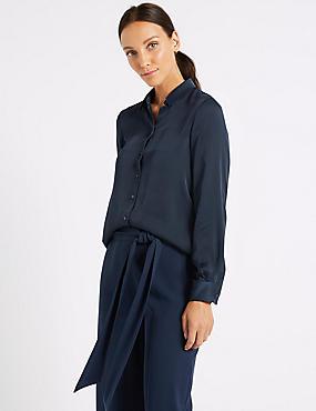 Satin Long Sleeve Shirt , NAVY, catlanding