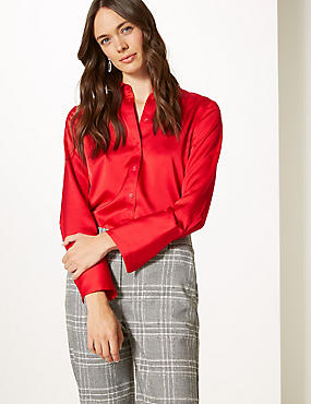 Satin Long Sleeve Shirt, RED, catlanding