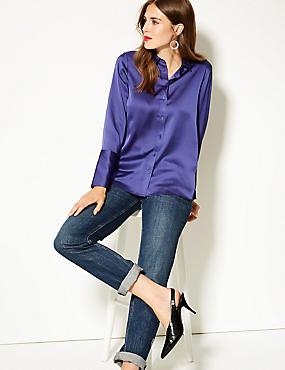 Satin Long Sleeve Shirt, BRIGHT BLUE, catlanding