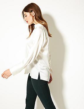 Satin Long Sleeve Shirt, IVORY, catlanding