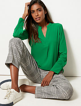 Notch Neck Long Sleeve Blouse , EMERALD, catlanding