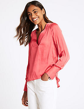 V-Neck Long Sleeve Blouse , CORAL, catlanding