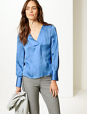 V-Neck Long Sleeve Blouse , CORNFLOWER, catlanding