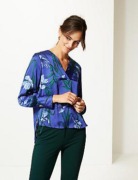 Satin Floral Print V-Neck Long Sleeve Blouse, ULTRAVIOLET, catlanding