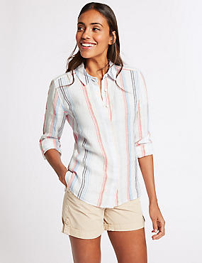 Pure Linen Striped Long Sleeve Shirt , WHITE MIX, catlanding