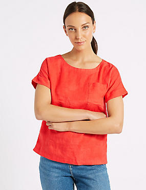 Pure Linen Round Neck Short Sleeve Shell Top, FLAME, catlanding