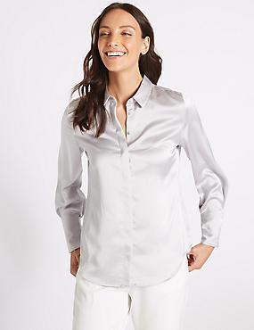 Satin Long Sleeve Shirt , SILVER, catlanding