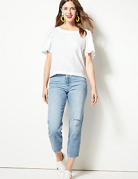 Linen Rich Round Neck Short Sleeve Blouse, ECO WHITE, catlanding