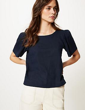 Linen Rich Round Neck Short Sleeve Blouse, NAVY, catlanding