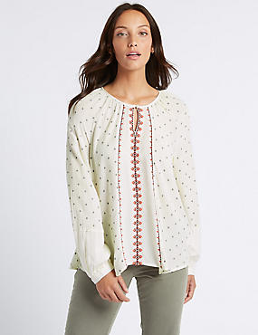 Jacquard Print Round Neck Long Sleeve Blouse, IVORY MIX, catlanding