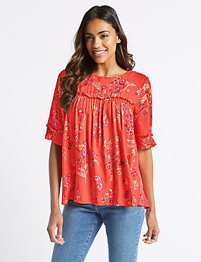 Floral Print Round Neck 3/4 Sleeve Blouse , FLAME, catlanding