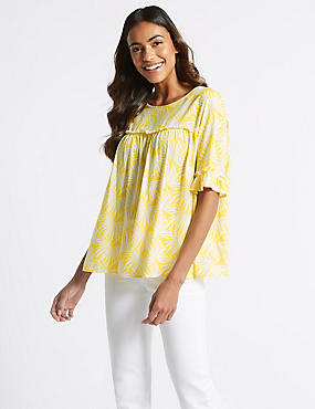 Palm Print Round Neck 3/4 Sleeve Blouse