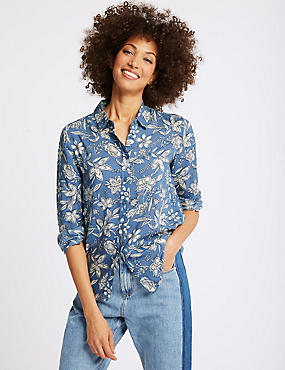 Pure Modal Floral Print Long Sleeve Shirt , PRUSSIAN, catlanding