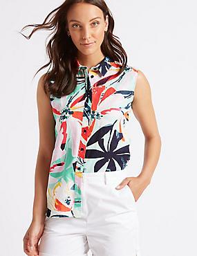 Linen Rich Floral Print Shirt , MULTI/PASTEL, catlanding