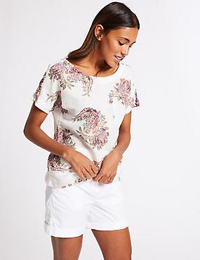 Linen Rich Floral Print Short Sleeve Blouse , IVORY MIX, catlanding