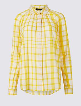 Pure Cotton Checked Long Sleeve Shirt , YELLOW MIX, catlanding