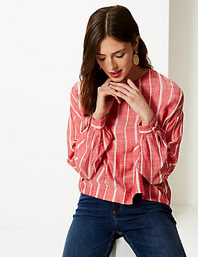 Striped Round Neck Long Sleeve Blouse, RED MIX, catlanding