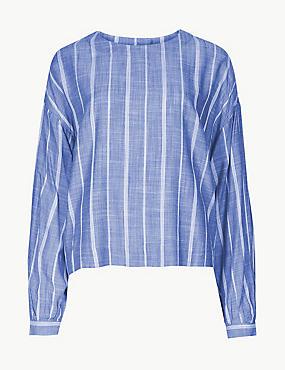 Striped Round Neck Long Sleeve Blouse, BLUE MIX, catlanding