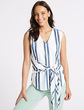 Pure Cotton Striped V-Neck Blouse