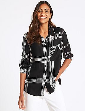 Checked Long Sleeve Shirt  , BLACK MIX, catlanding
