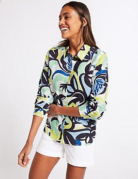 Linen Rich Printed Long Sleeve Shirt , BLUE MIX, catlanding