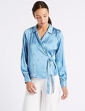 Spotted Satin V-Neck Long Sleeve Blouse , LIGHT BLUE, catlanding