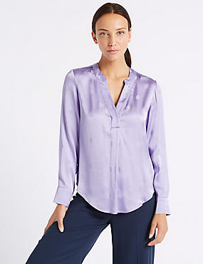 Spotted Satin Popover Long Sleeve Blouse, PALE MAUVE, catlanding