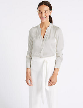 Spotted Satin Popover Long Sleeve Blouse, IVORY, catlanding