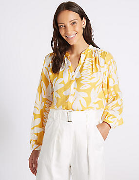 Printed Notch Neck Long Sleeve Blouse , YELLOW MIX, catlanding