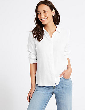 Pure Linen Long Sleeve Shirt, WHITE, catlanding