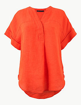 Pure Linen Short Sleeve Shirt, ORANGE, catlanding