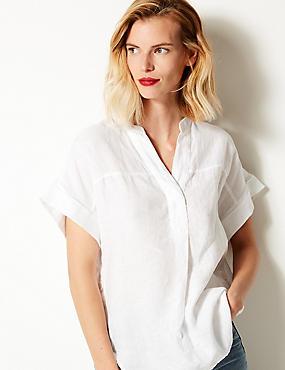 Pure Linen Short Sleeve Shirt, SOFT WHITE, catlanding