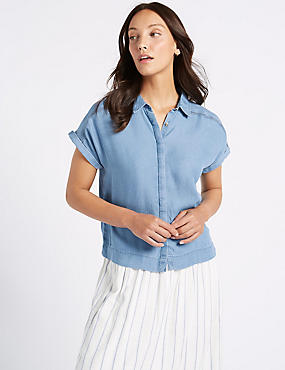 Raglan Short Sleeve Shirt , DENIM, catlanding