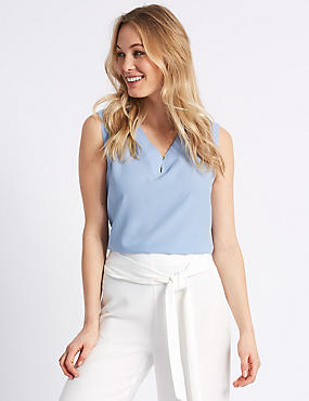 V-Neck Shell Top , BLUEBELL, catlanding