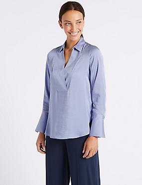 Notch Neck Long Sleeve Blouse , BLUEBELL, catlanding