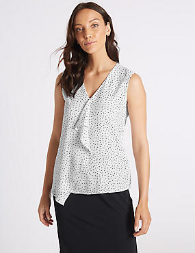 Printed Ruffle Front V-Neck Blouse , WHITE MIX, catlanding