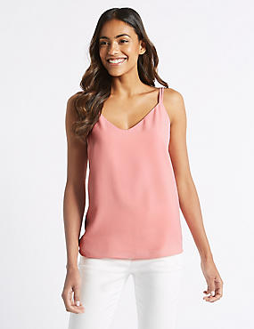 Double Strap V-Neck Vest Top, ROSE PINK, catlanding