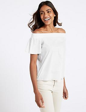 Pure Cotton Poplin Half Sleeve Bardot Top , WHITE, catlanding