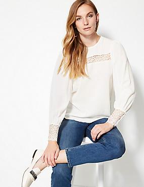 Lace Insert Round Neck Long Sleeve Blouse , IVORY, catlanding