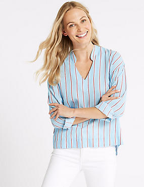 Pure Cotton Striped Long Sleeve Blouse, BLUE MIX, catlanding