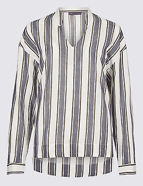 Pure Cotton Striped Long Sleeve Blouse, WHITE MIX, catlanding