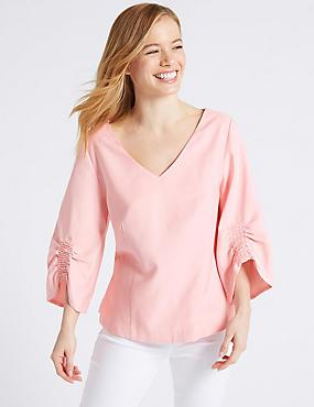 PETITE Ruched Sleeve V-Neck Blouse , ROSE PINK, catlanding