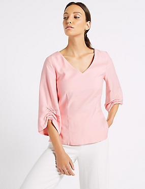 Ruched Sleeve V-Neck Blouse, ROSE PINK, catlanding