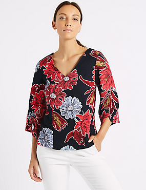 Floral Print Ruched Sleeve V-Neck Blouse , NAVY MIX, catlanding