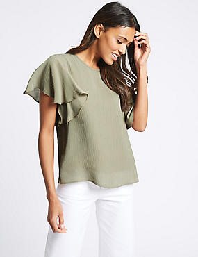 Textured Flamenco Sleeve Round Neck Blouse
