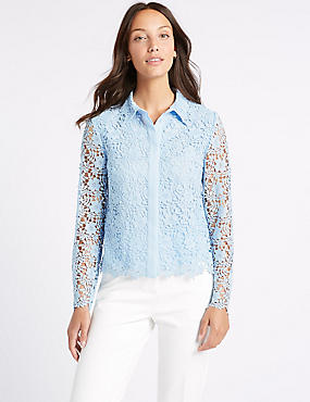 Lace Long Sleeve Shirt, BLUE, catlanding