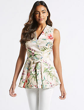 Floral Print Tie Waist V-Neck Shell Top, IVORY MIX, catlanding