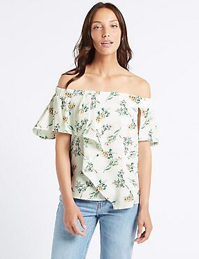Floral Print Short Sleeve Bardot Top, IVORY MIX, catlanding
