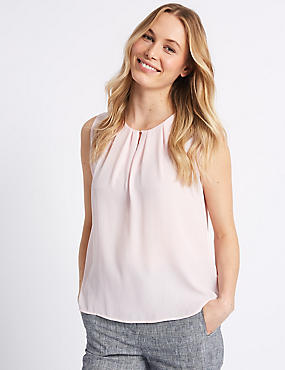 Pleated Front Round Neck Blouse , BLUSH, catlanding