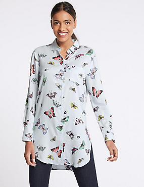 Butterfly Print Longline Long Sleeve Shirt